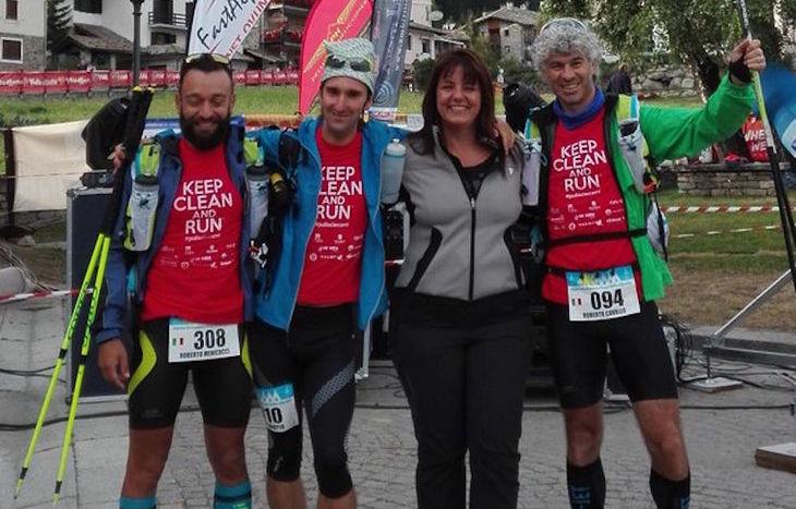 Roberto Menicucci, Oliviero Alotto, Barbara Degani e Roberto Cavallo al via del 4K a Cogne